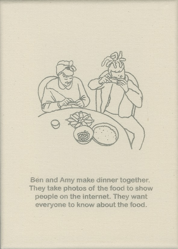 Ben and Amy make dinner together. They take photos of the food to show people on the internet. They want everyone to know about the food.