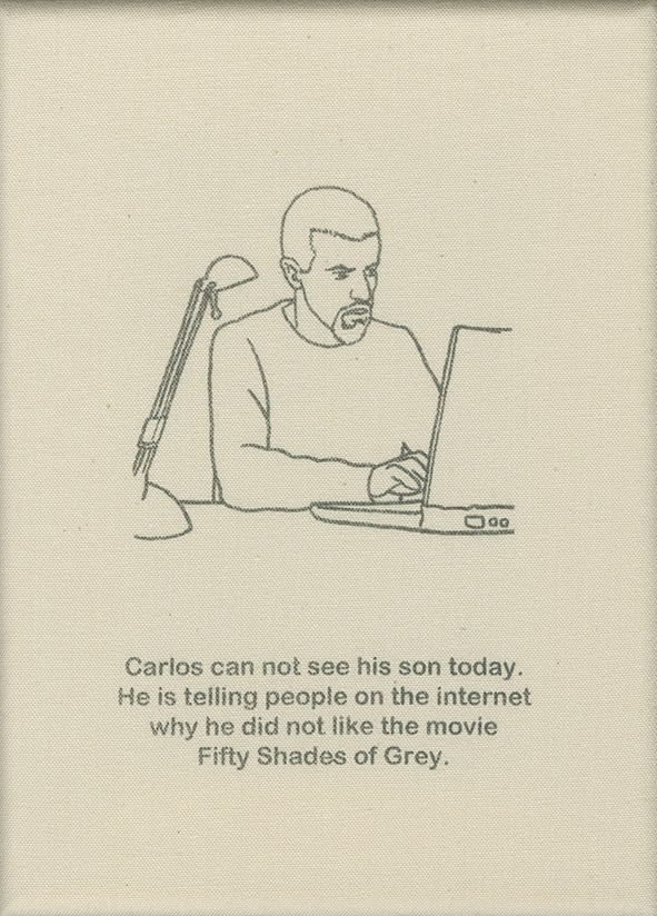 Carlos can not see his son today. He is telling people on the internet why he did not like the movie Fifty Shades of Grey.