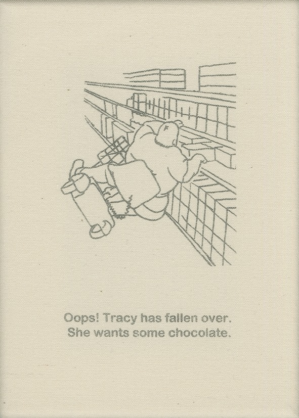 Oops! Tracy has fallen over. She wants to buy some chocolate.