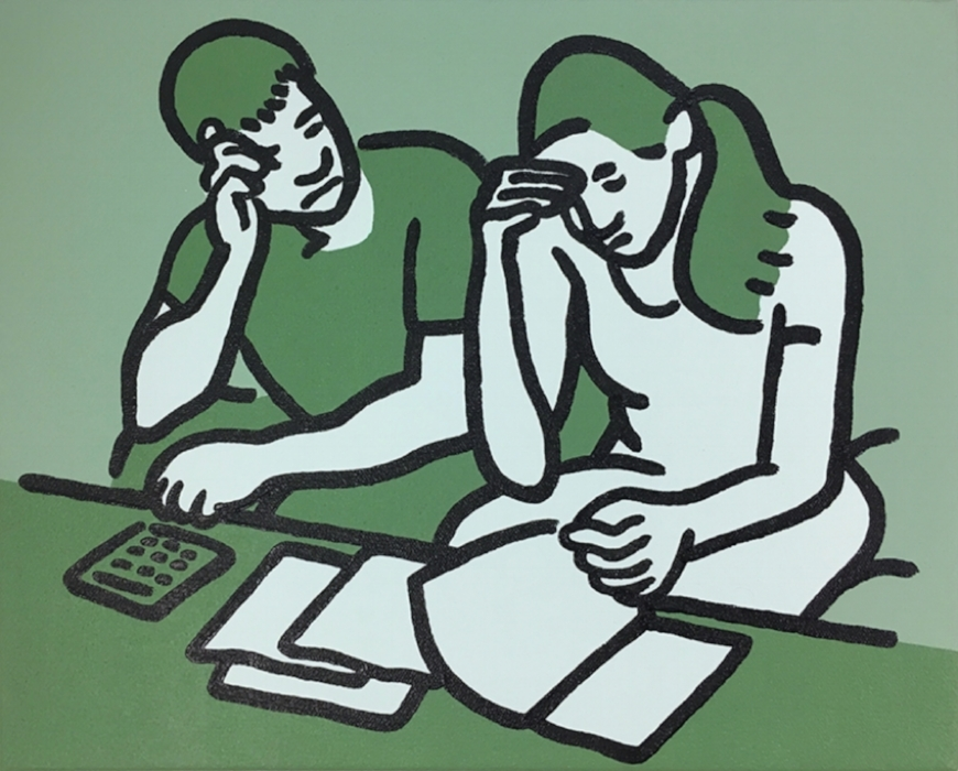 Couple on Couch (green)