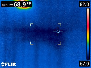 Infrared thermal imaging showing a past water leak that was still wet and confirmed with a moisture meter.