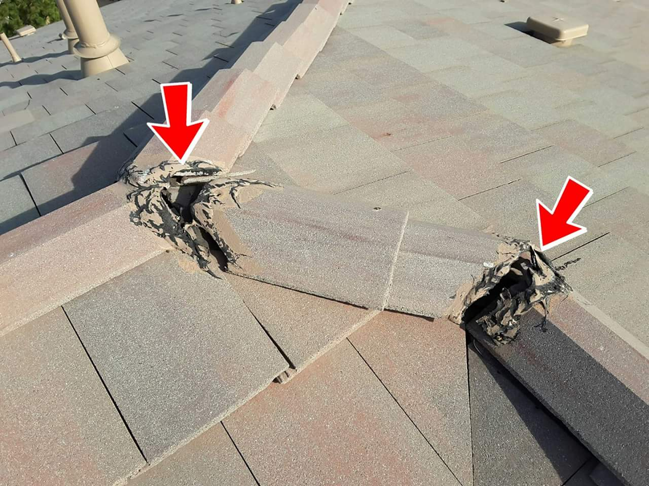 Deteriorated mud balls and slipped tiles are common on cement tile roofs. Thankfully another easy and inexpensive repair.