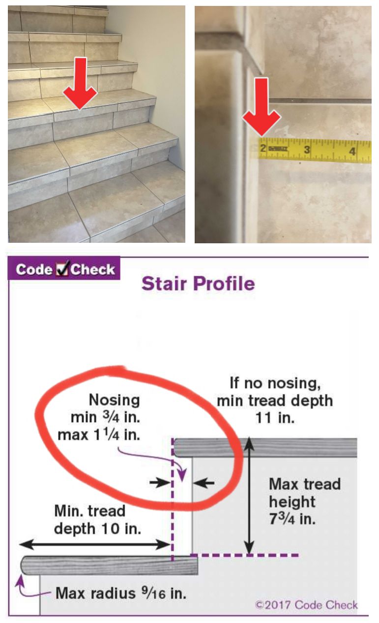 """Poor planning at this stairway has created a whole flight of trip-hazards. Maximum nosing at stairs should be no more than 1-1/4""""."""