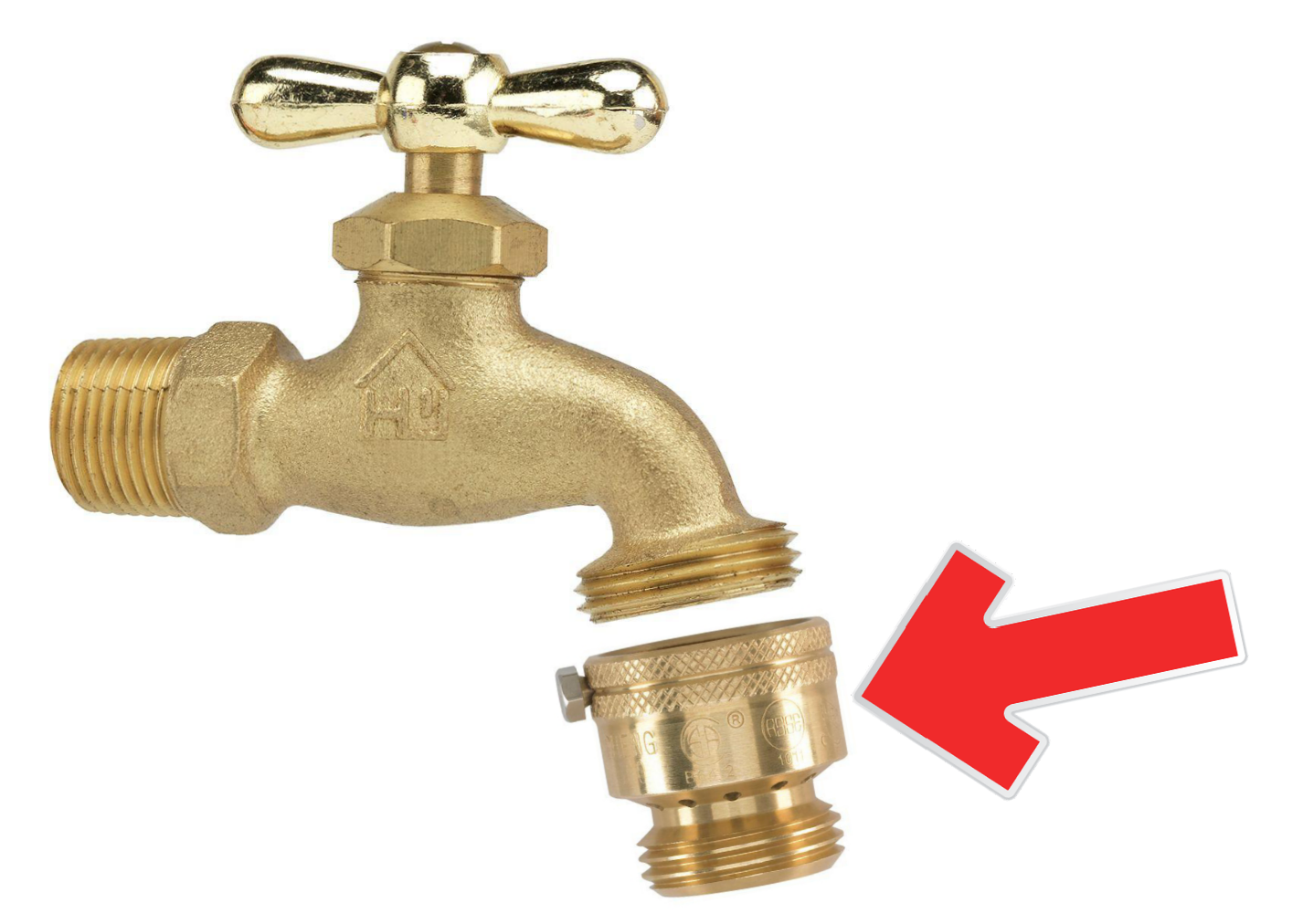 A backflow prevention device at hose bibs protects potable water from contamination due to backflow. The set screw should shear off when tightened to prevent removal once installed.