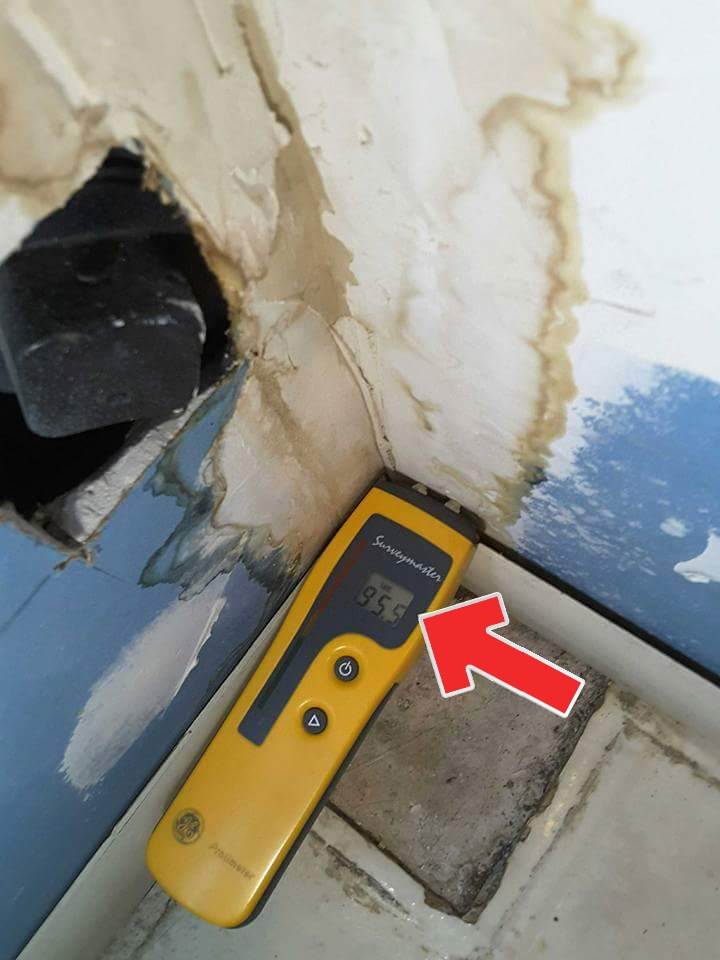 A moisture meter is great for checking water damage. Sometimes hidden, like around the floor of a toilet, other times it is obvious. This leaking waste pipe is a health hazard.
