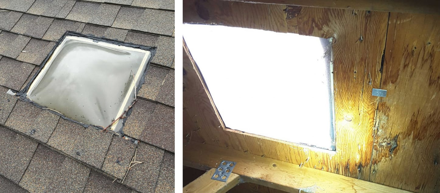 These cheap flush mounted skylights are often installed in a garage, carport, patio or Arizona room. They are notorious for leaking.