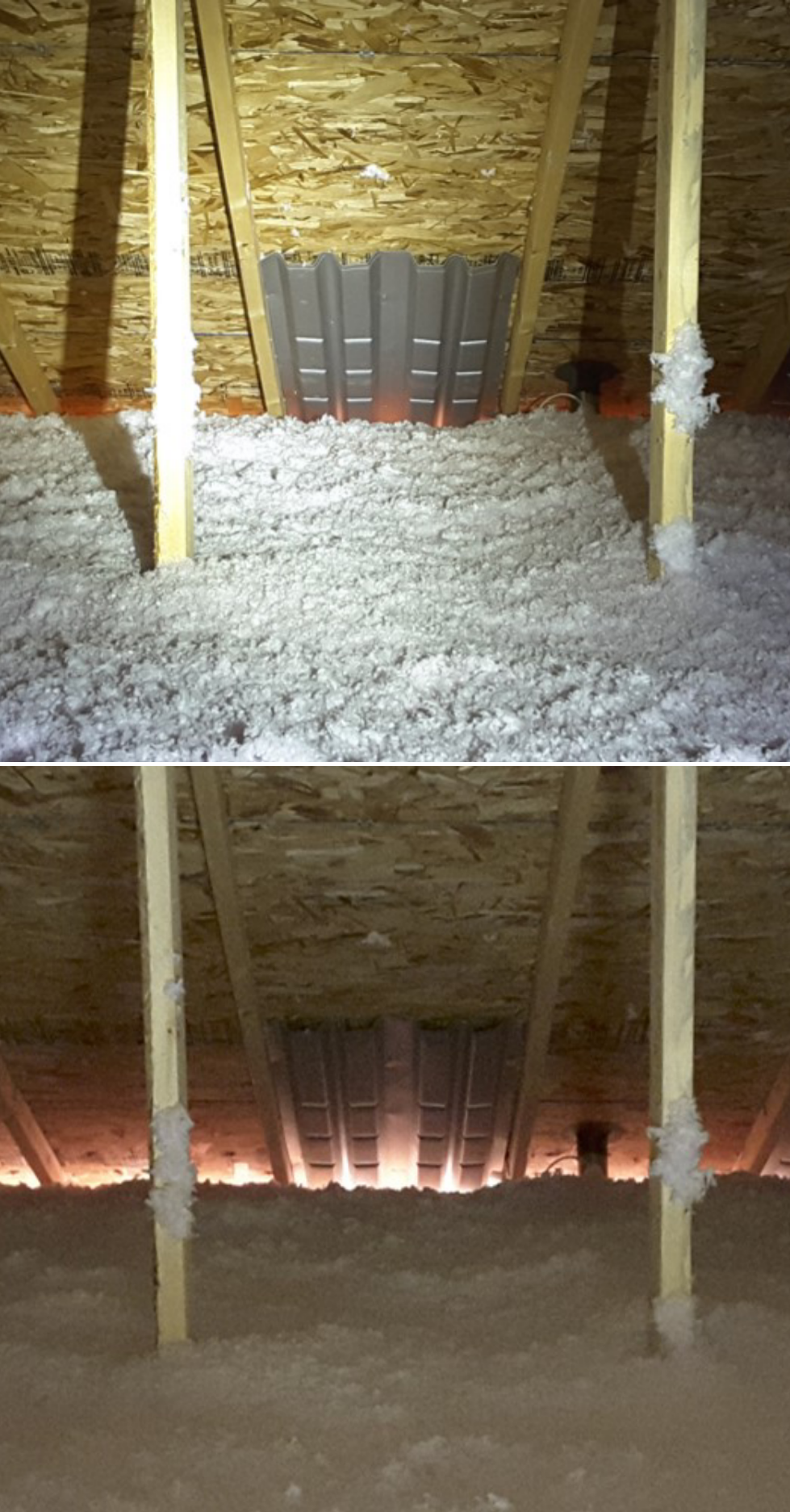 Baffles keep insulation from blocking soffit vents. Proper insulation and ventilation in your attic are important for moisture control and to reduce energy loss.