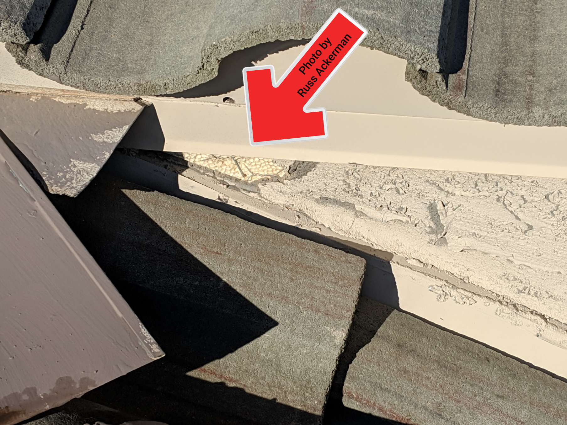 This home had water pouring out from behind the bottom of the stucco when it rains, the cause was a missing patch of stucco near the roofline.