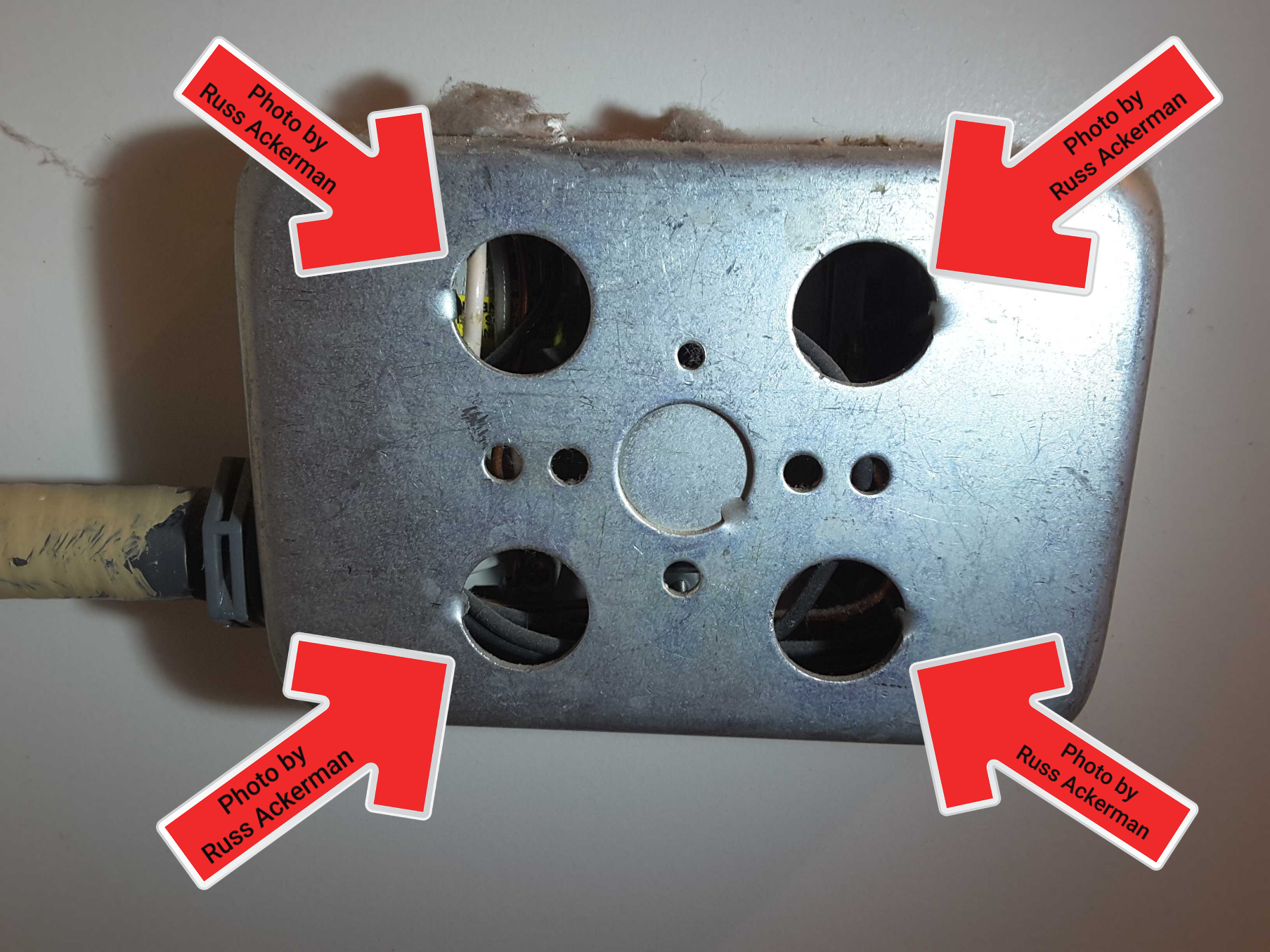 Missing knock outs at junction boxes are a safety hazard. There should be no openings and proper bushings at metal boxes.