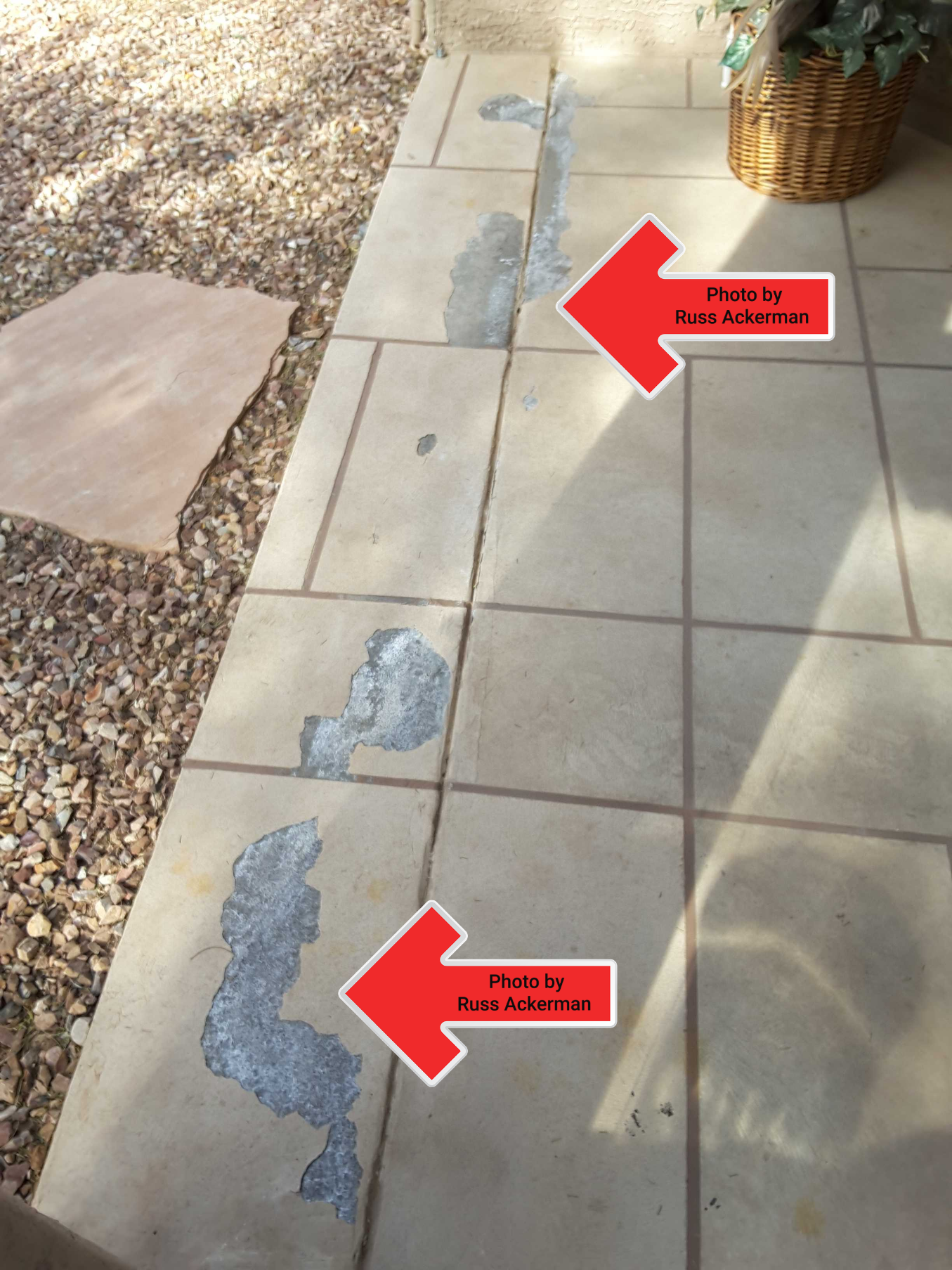 A Kool-Deck type coating on this patio was poorly installed and in horrible shape, with deterioration and flaking in several areas.