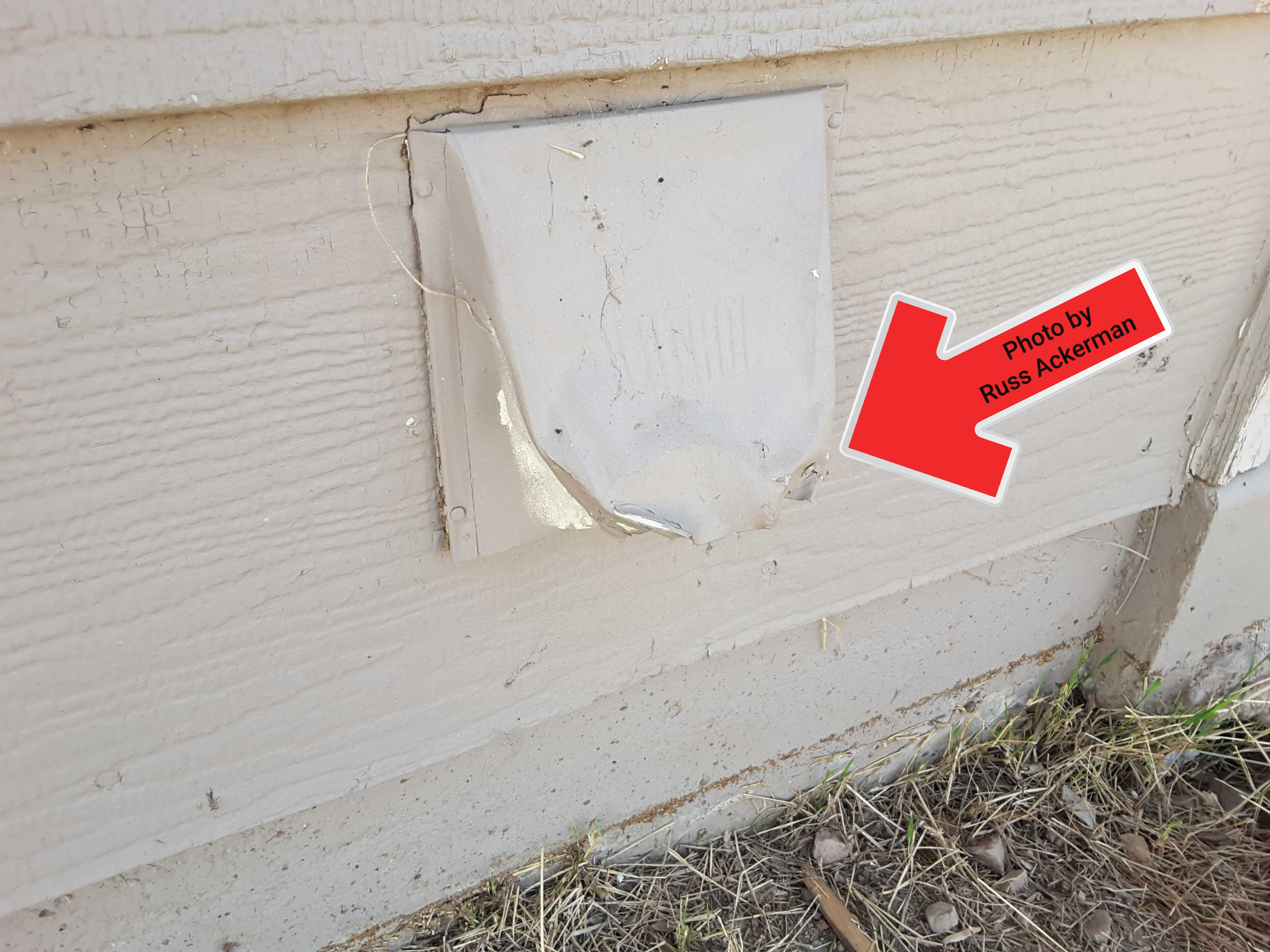 Exterior dryer vent discharge is bent and stuck in open position with no screen. Total replacement is needed.