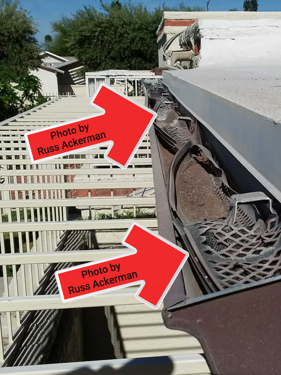 These old gutter leaf guards have collapsed and the gutters are filled with dirt. Most leaf guards are worthless and only last 5-10 years.