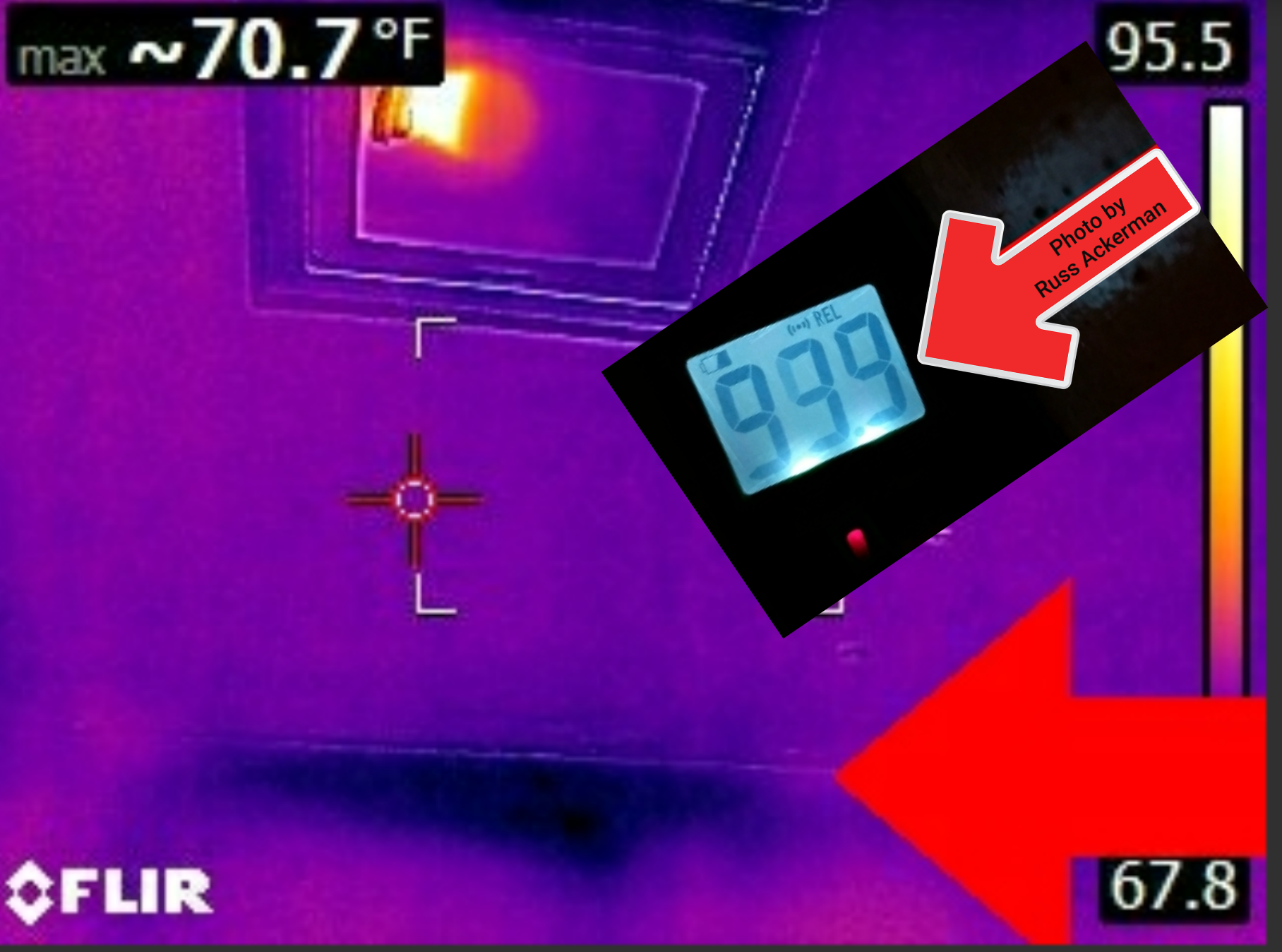 Water damage and perfect conditions for mold growth are not always visible to the naked eye. Infrared thermal imaging and a moisture meter confirm an active leak with 100% saturation.