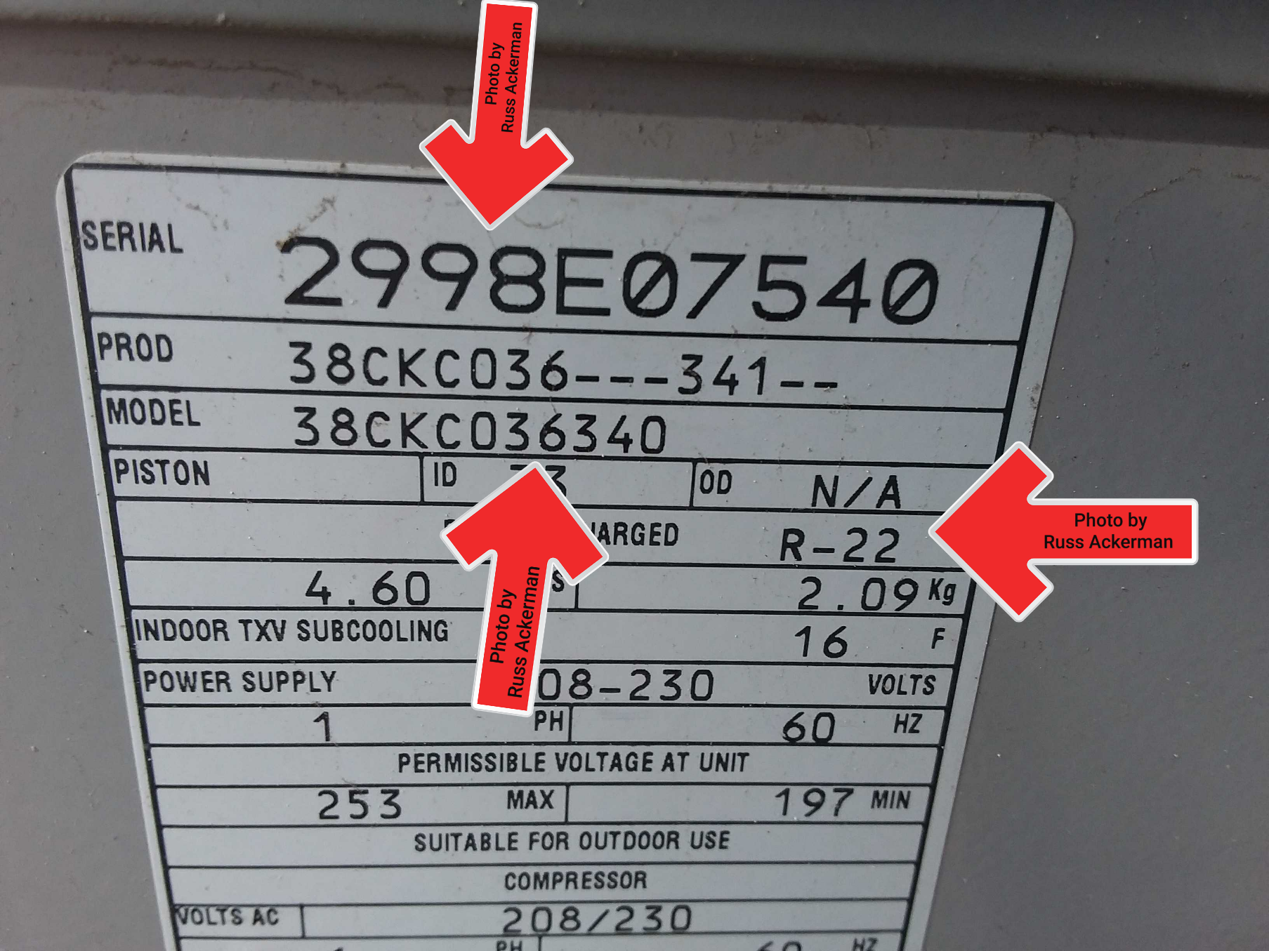 This 3-ton air conditioner dated 1998 uses the now prohibited R-22 refrigerant. Replacement of this unit will be needed once it begins to fail.