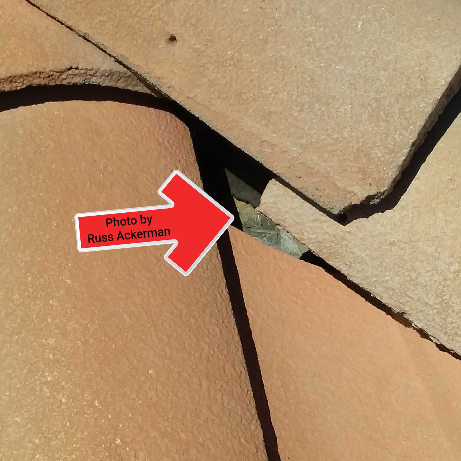 Yes, that is exposed roof sheathing at this roof hip. The roof deck will absorbing water every time it rains and leaking is inevitable.