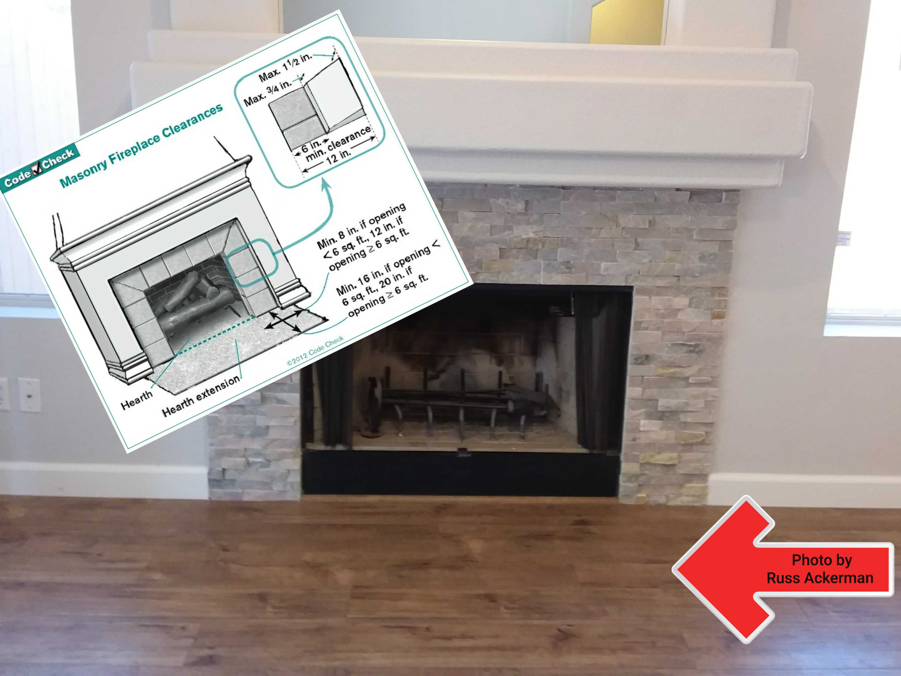 """A wood burning fireplace, no hearth and a flammable floor is unsafe and should not be used. This fireplace requires a minimum 16"""" hearth."""