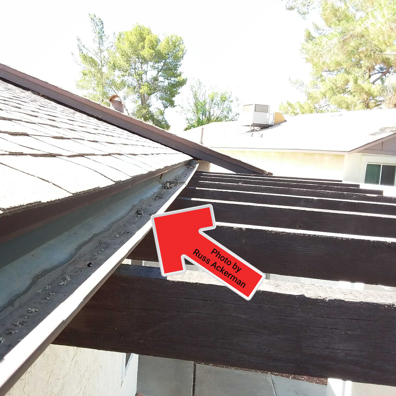 Gutters are rare here in Arizona. Most gutters are installed incorrectly/poorly and are missing downspouts and supports.