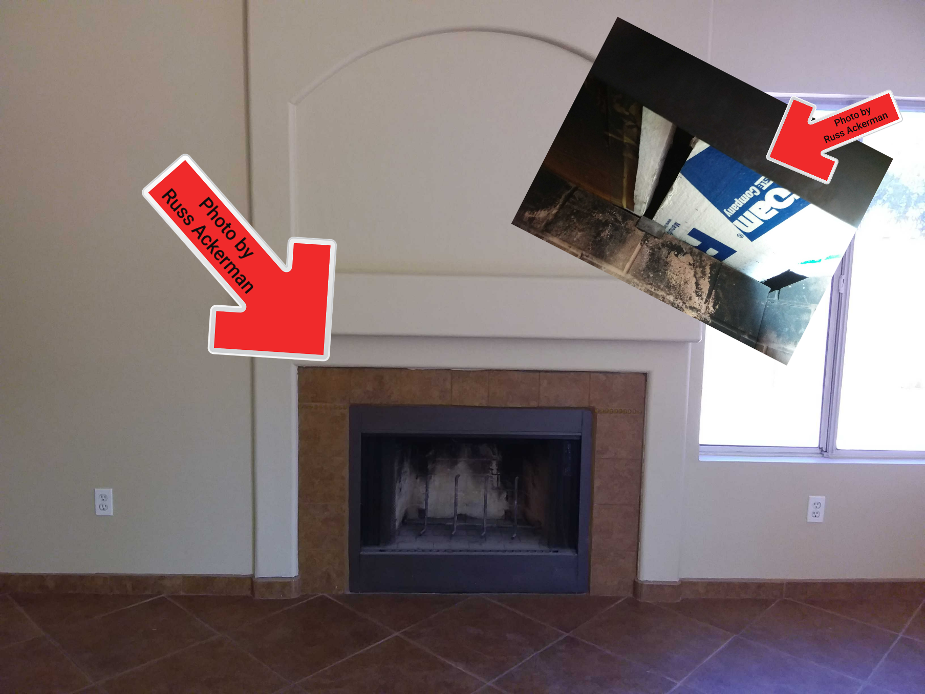 This fireplace looks safe to operate, until we find the flue stuffed with styrofoam insulation. Always check before starting a fire.