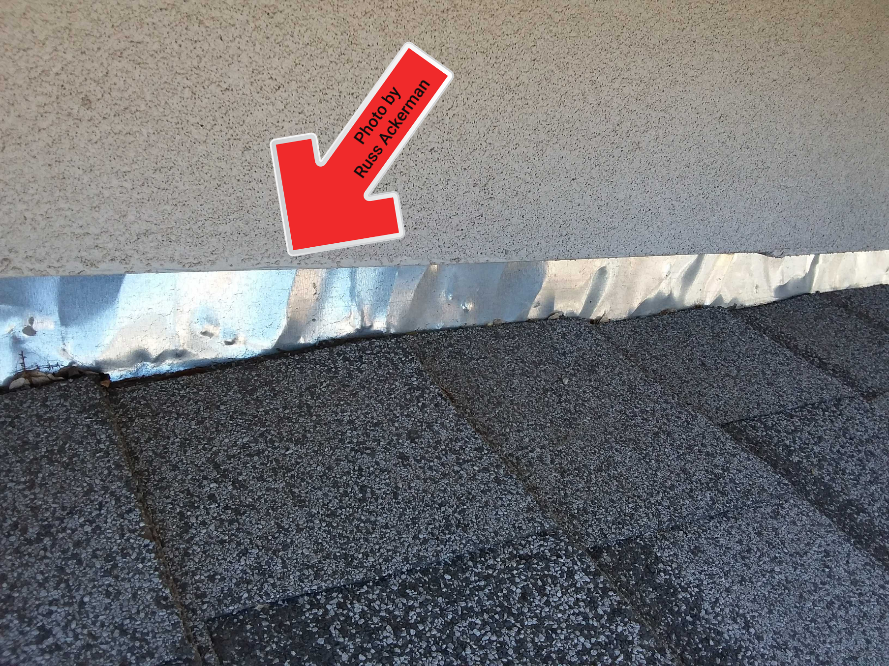 Continuous sidewall flashing used in place of proper step flashing will increase the chance of leakage and must be sealed regularly.