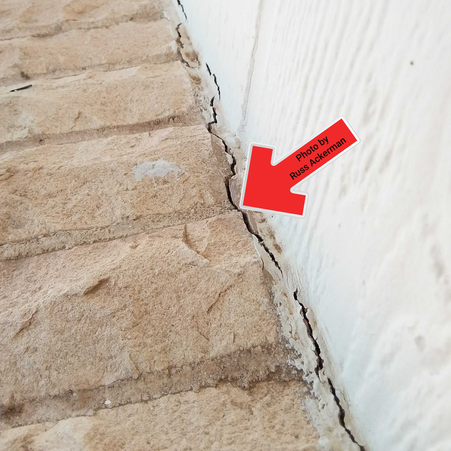 Missing flashing at brick siding should be caulked regularly. Keeping water out of the wall cavity will protect the metal wall ties holding the brick in place.
