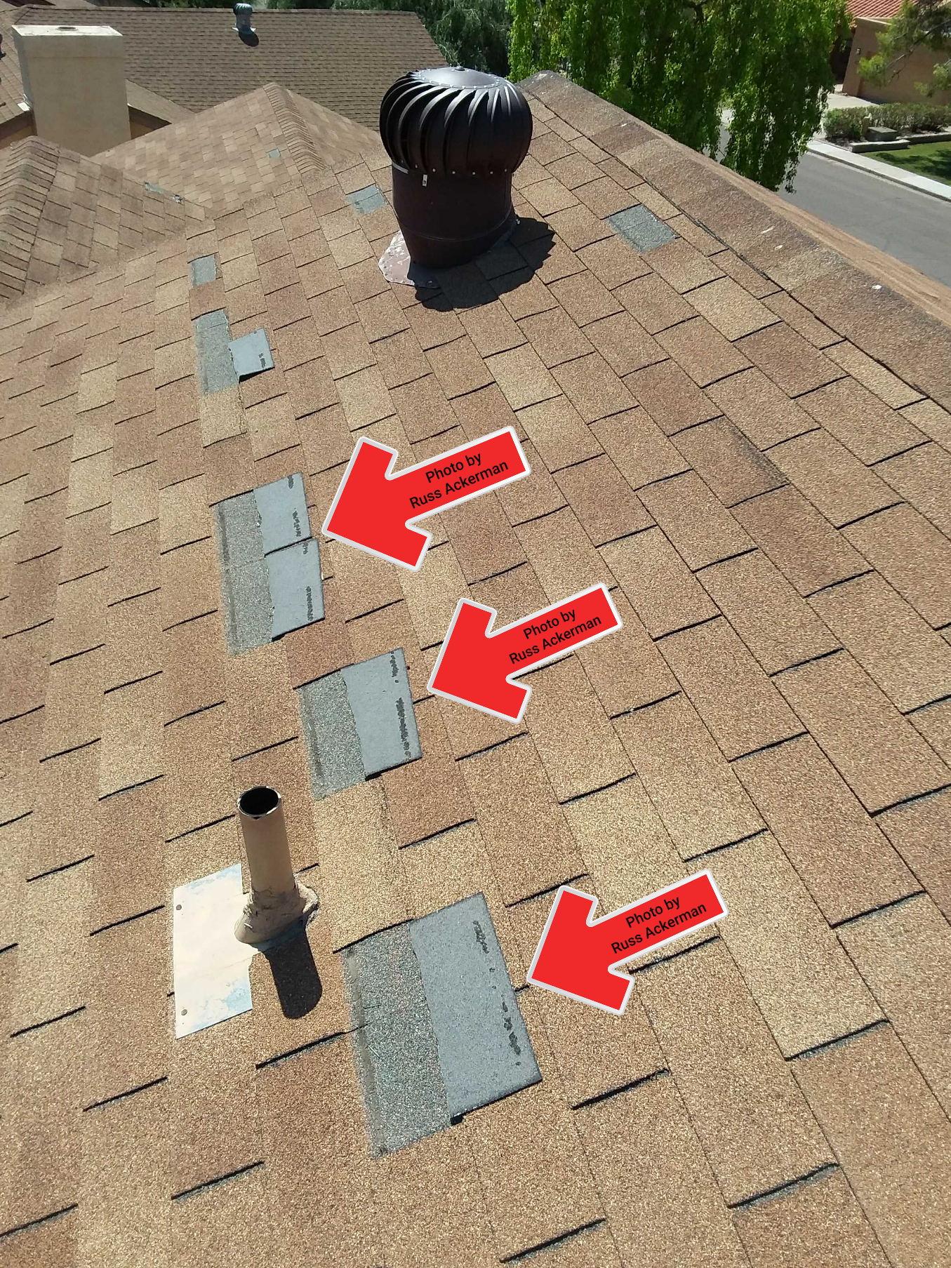 Failed bonding is sure sign that your older asphalt roof is in need of replacement. Wind damage is now inevitable.