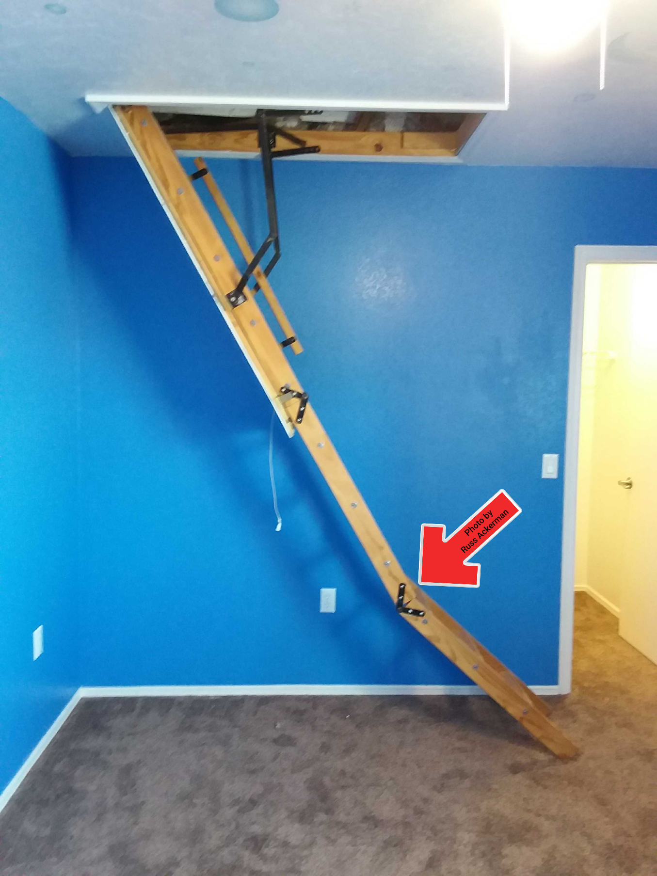 This attic stairway is a safety hazard, the stairs need to be property cut so the stairs are straight and properly supported at the floor.