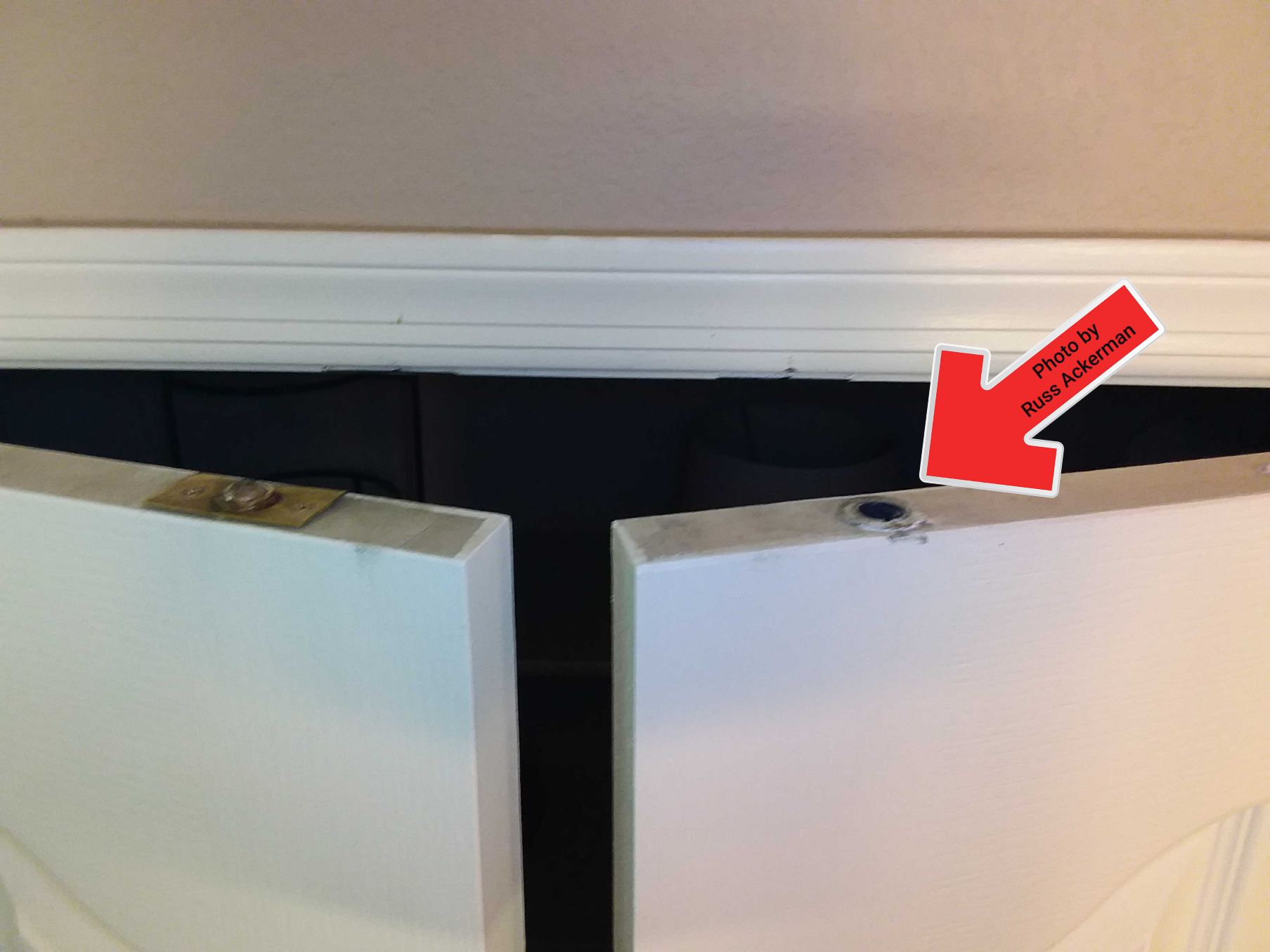 Missing hardware at the top of a pantry door will prevent the door from staying closed. Under $5 and 5-min to repair.