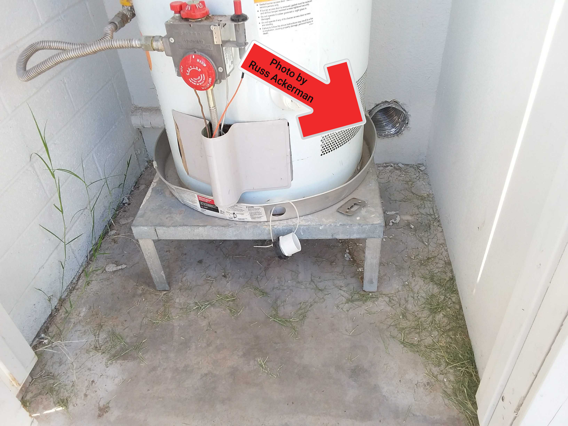 This laundry room dryer exhaust was improperly venting inside an exterior water heater room. That's a gallon of water vapor per load.