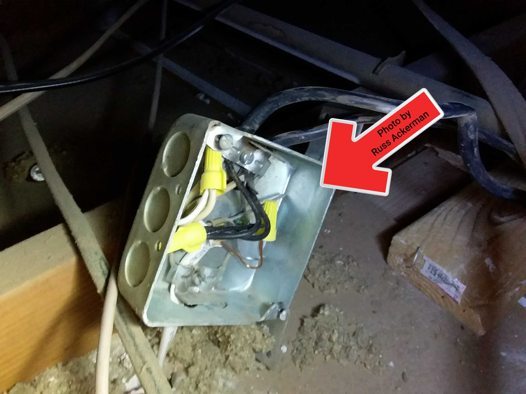 Sloppy workmanship. Uncovered and unsecured junction boxes are a safety hazard.