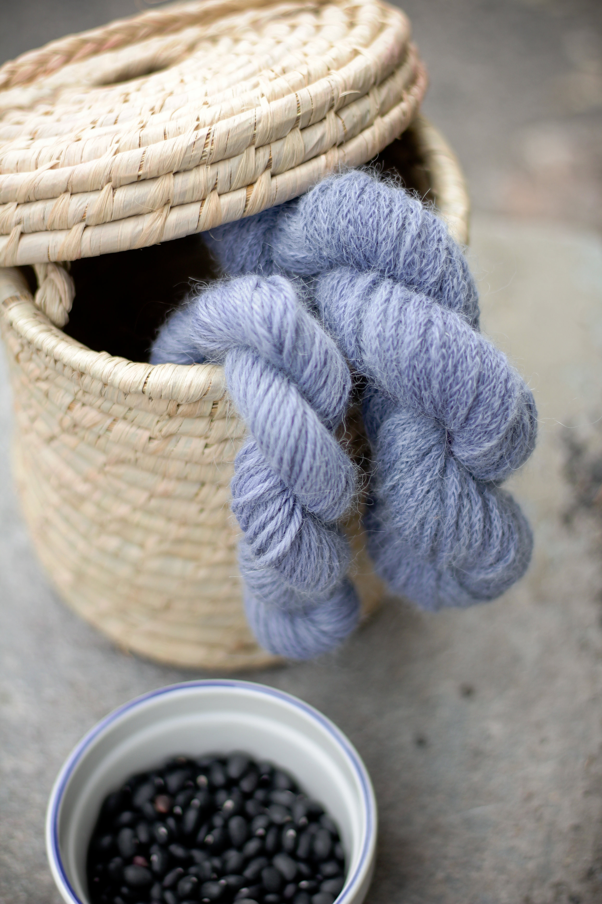 Résultats du bleu obtenus par la teinture aux haricots noirs sur de l'alpaga et bébé alpaga