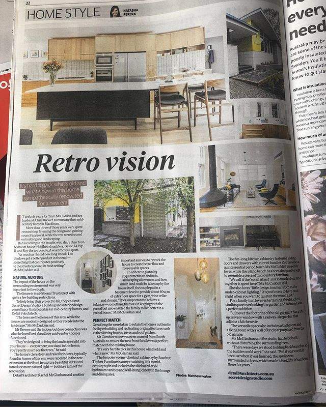 In today's Herald Sun the joinery we made for a Mid Century house in Blackburn has had an article written about it. We had the opportunity to have a substantial input into the design and timber selection making the process every cabinet makers dream. This is by far the best kitchen we have made and for the most wonderful clients. Along side Alistair @secret_design_studio #sawdusttimberfurniture #joinery