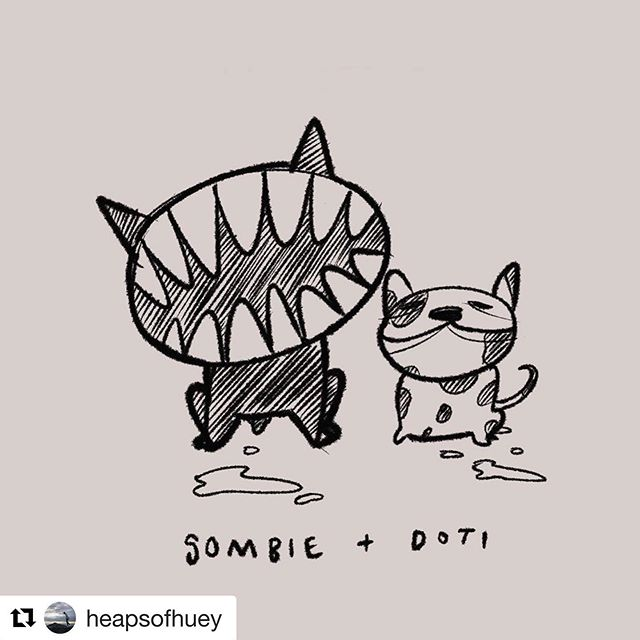 #Repost @heapsofhuey with @get_repost ・・・ Lil monsters #illustration #ipadpro #frenchie #doodle #sketch #sombie #doti #dogsofinstagram
