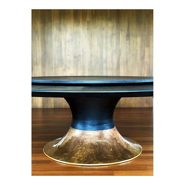 A table we designed especially for this Yangon project. Burnt teak wax finished with treated brass base is crafted locally by skilled craftsman.
