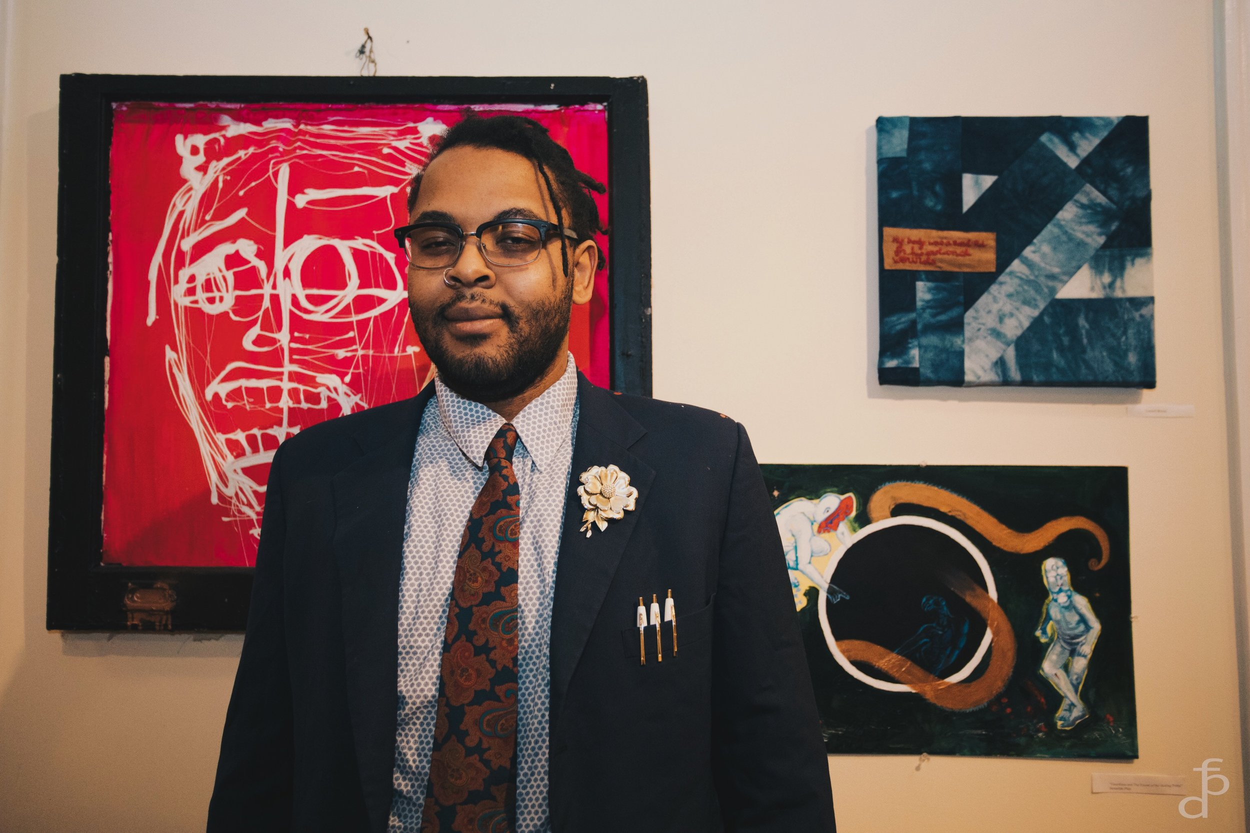 Artist William Wallace and his work (pink piece)