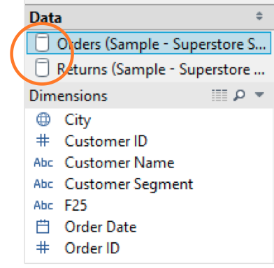 Two data sources (Orders and Returns)