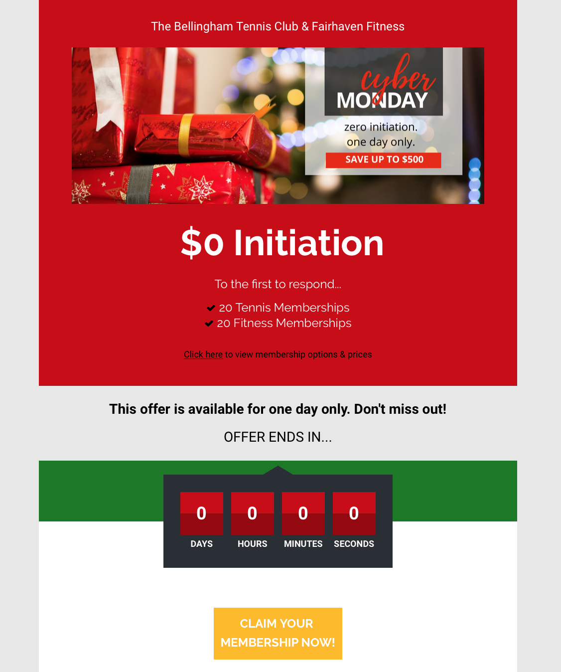 Cyber Monday Landing Page Top