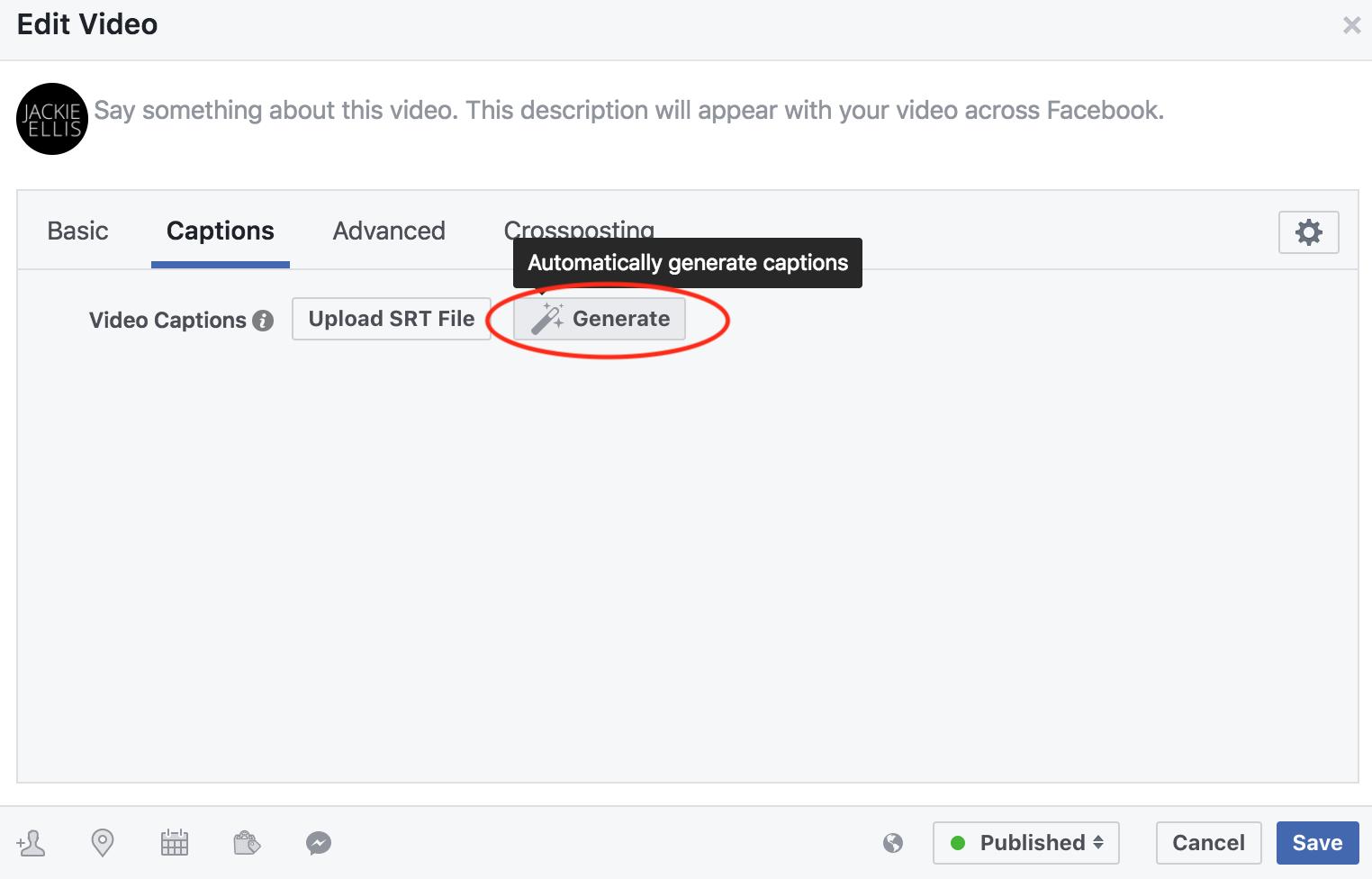 jackie ellis facebook live video add captions