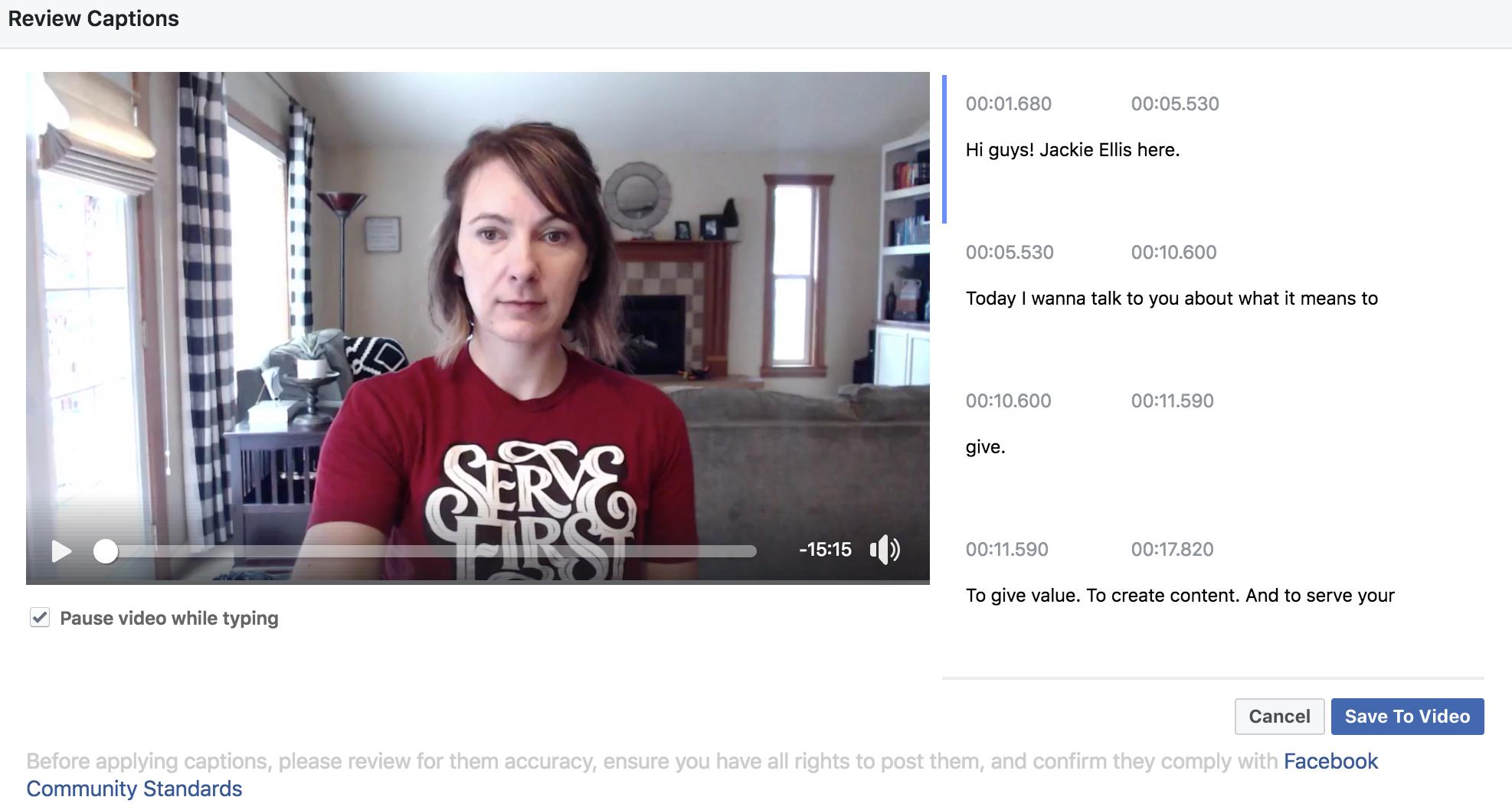 jackie ellis facebook live video generate captions