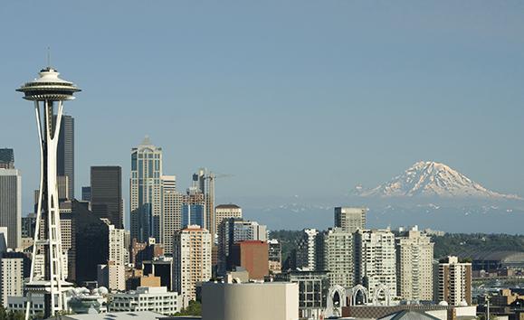 Seattle Space Needle Mt. Rainier