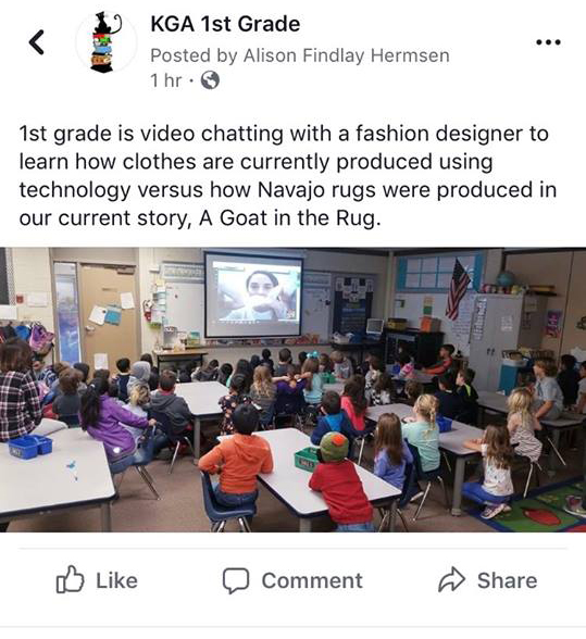 Speaking with a 1st Grade class about how fabric and clothing is produced. November 2018
