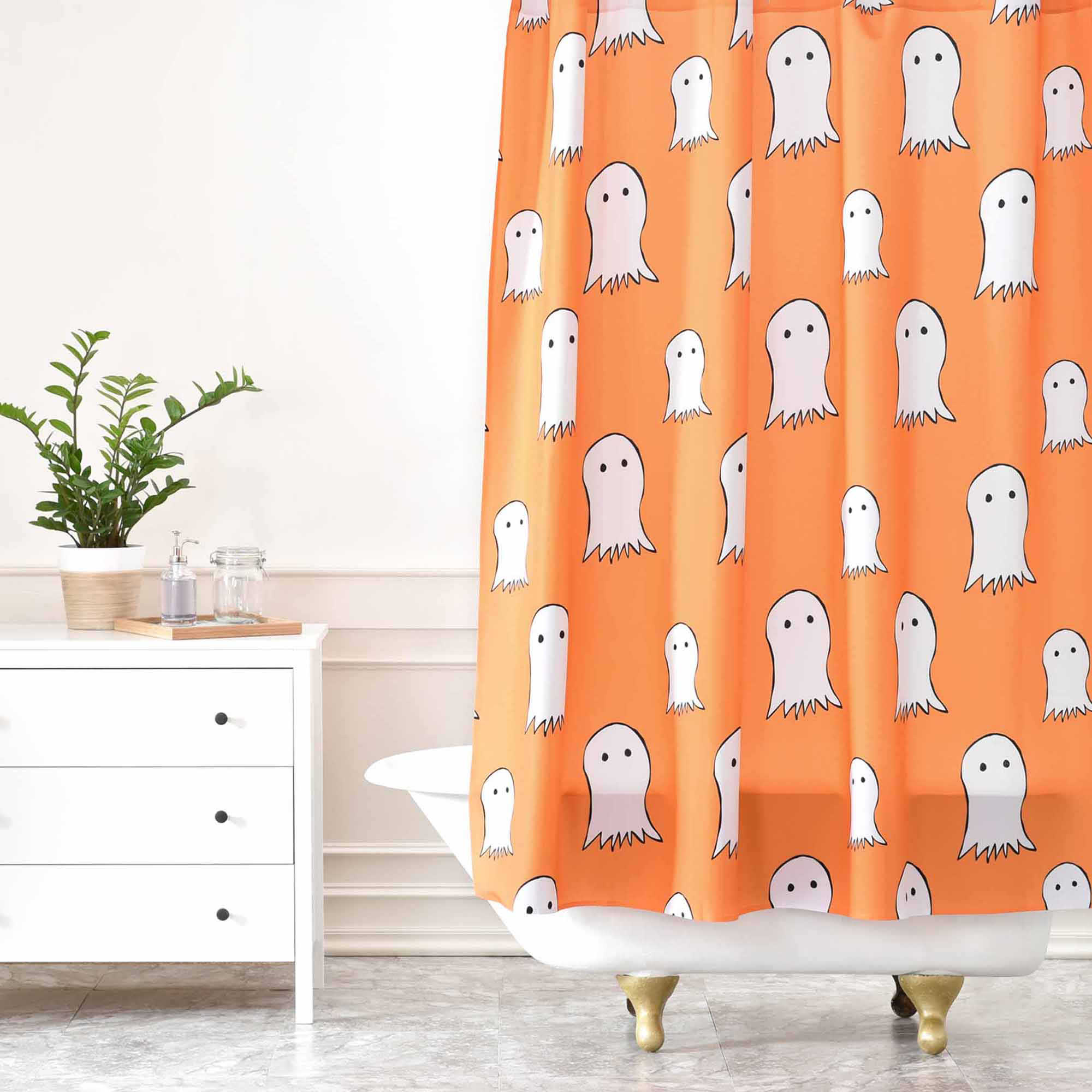 Ghosts Shower Curtain in Orange