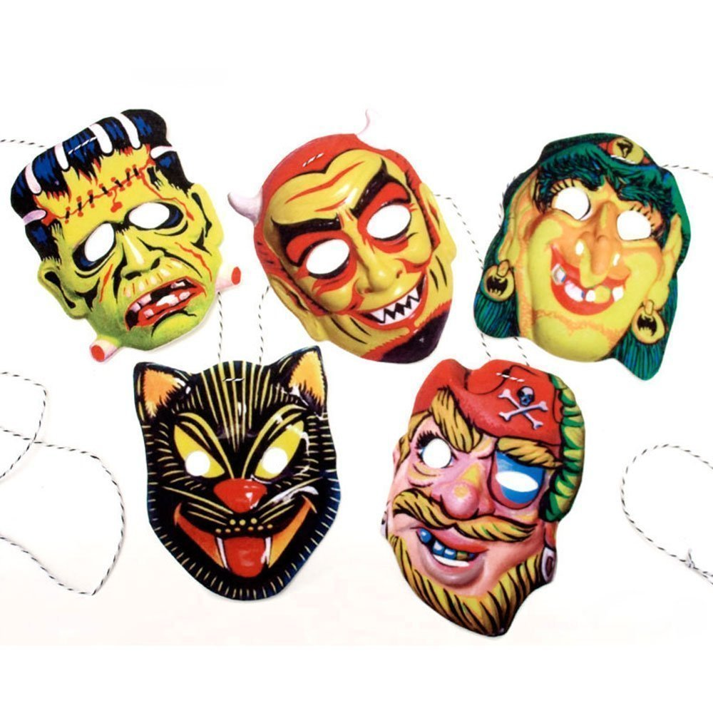 Vintage Halloween Masks Garland