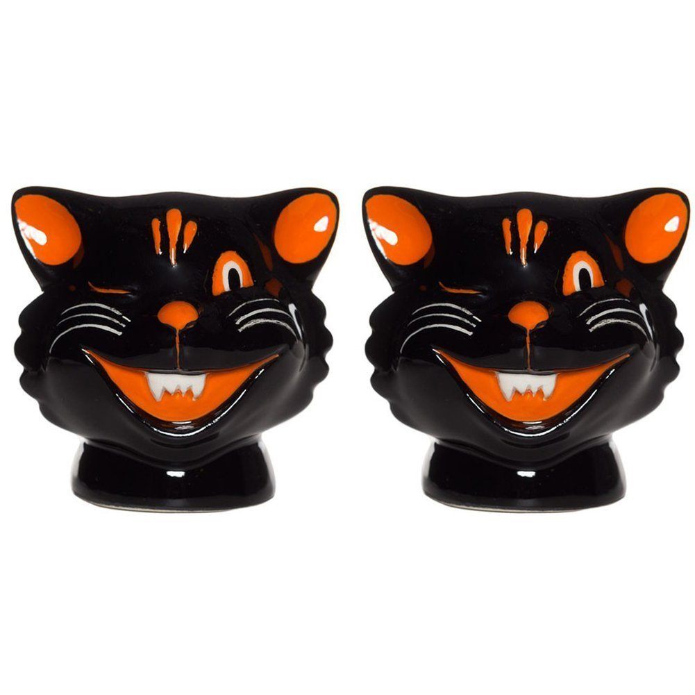 Sourpuss Cats Salt & Pepper Shakers Black