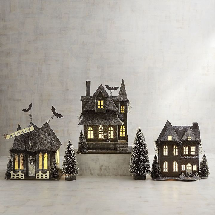 LED Light-Up Glittered Haunted Halloween Village
