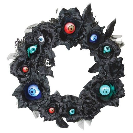 Black Wreath with Lightup Eyeballs