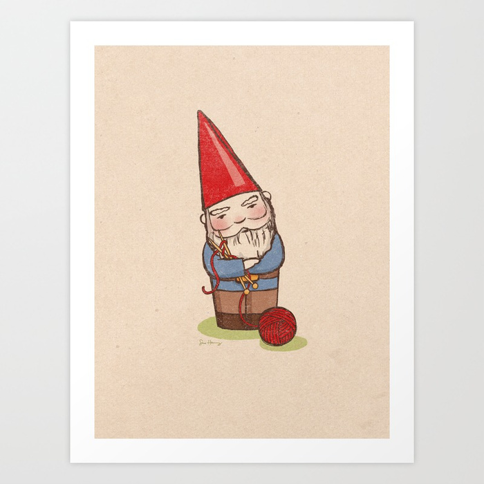 - Knitting Gnome print