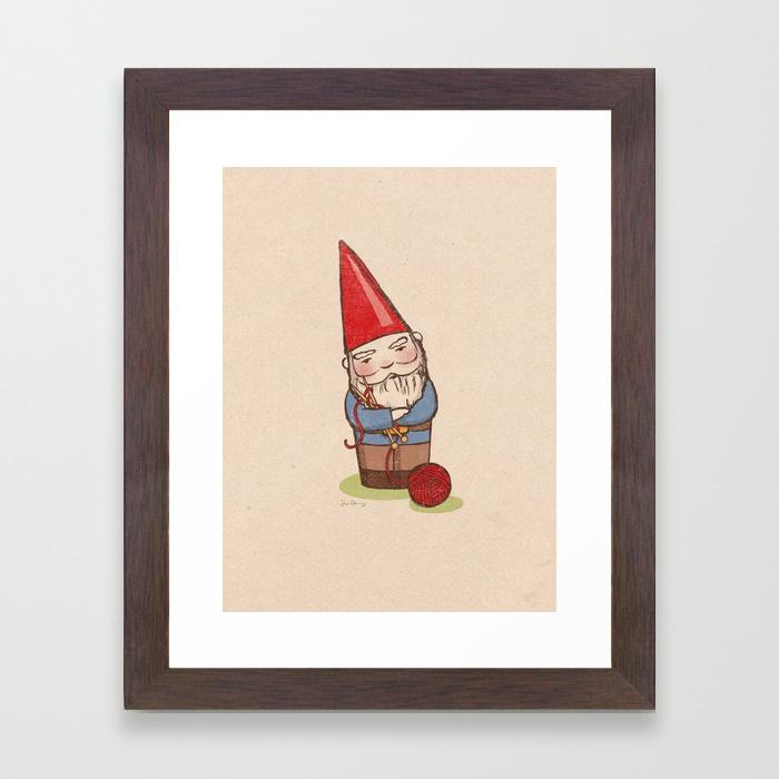 - Knitting Gnome framed print