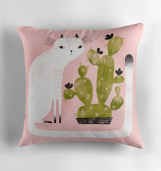 Cat and cactus throw pillow by Terry Runyan