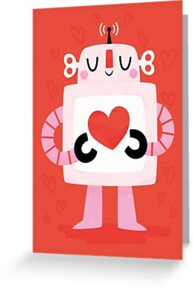 Love Robot greeting card by Claire Stamper