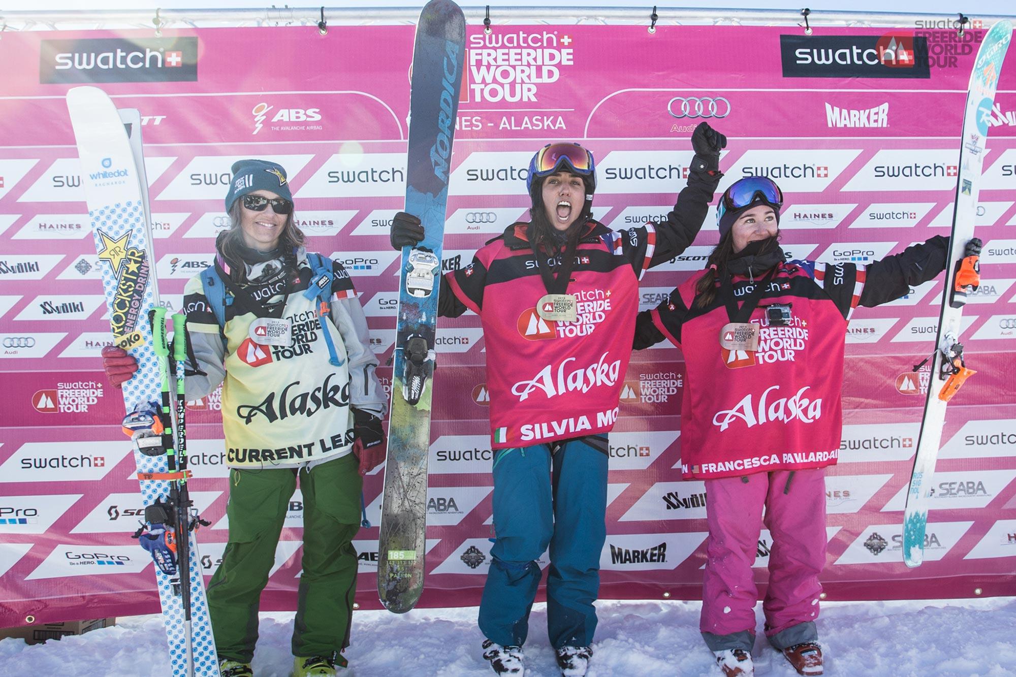 Silvia winning the Freeride World Tour in Alaska